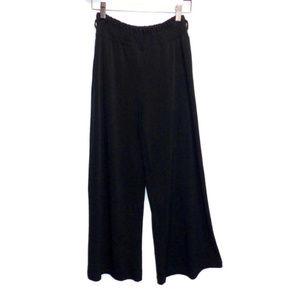 Takara Black Cropped Pants Shirred Waist Loose Leg